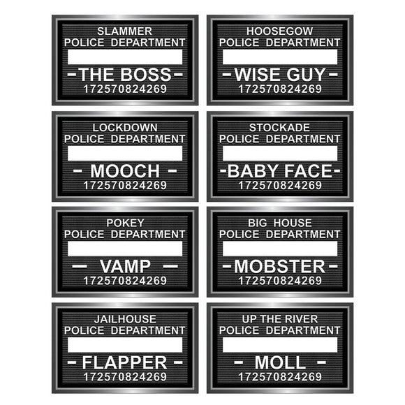Pack of 8 Speakeasy Mug Shot Photo Fun Signs - Gangster Party Photo Prop Cutouts
