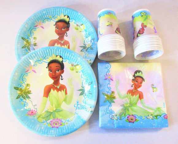 Disney Princess & The Frog Party Tableware for 20 People - Plates Cups Napkins