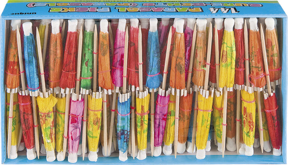 144 Assorted Paper Colour Cocktail Umbrella Picks - Tropical Party Decorations