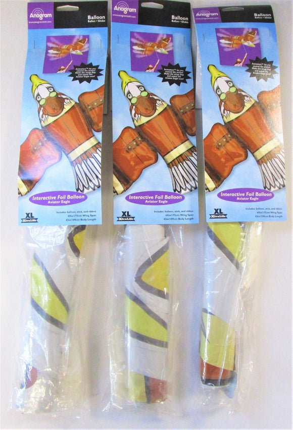 Pack of 3 Interactive Aviator Eagle Foil  Helium balloon - Animal Party Balloons