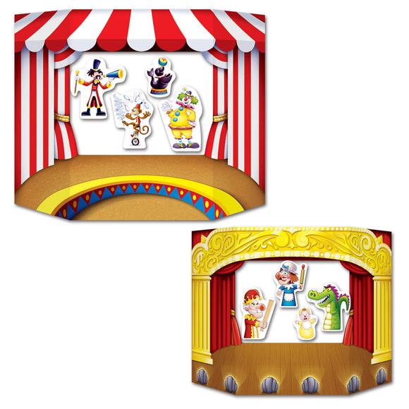 Puppet Show Theater Photo Prop With 8 Puppets - 94  x 64 cm - Party Decorations