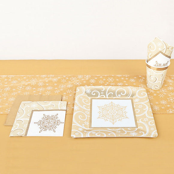 Shimmering Gold Table Runner with Embroidered Snowflakes - Christmas Party