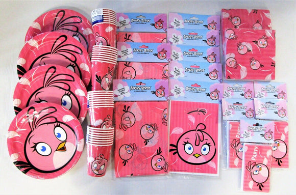 Pink Bird Party Tableware Pack For 30 People - Angry Birds Plates Cups etc