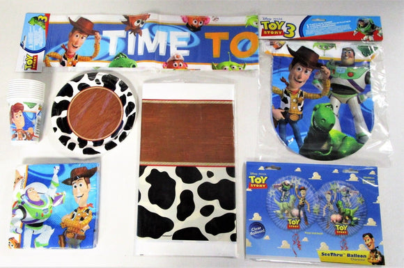 Toy Story 3 Party Tableware and Decorations Pack for 8 People - Plates Cups etc