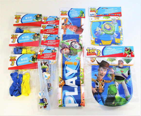 Disney Toy Story 3 Party Decorations 3 Different Banners, 24 Balloons, 24 Straws