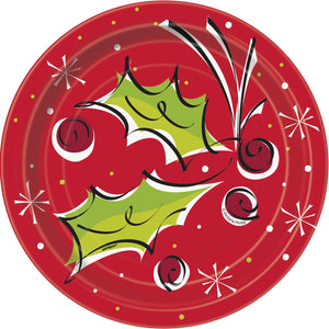 Pack of 8 Holly Pop Paper Plates - 18 cm - Winter & Christmas Party Tableware