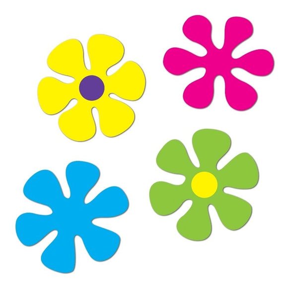 Pack of 4 Retro Flower 12'' Cutouts - 1960's Hippie Party Decorations - 60's