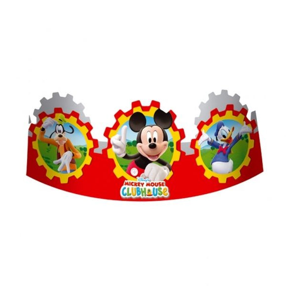 Pack of 6 Mickey Mouse Clubhouse Paper Party Hats - Mickey and Friends Headbands