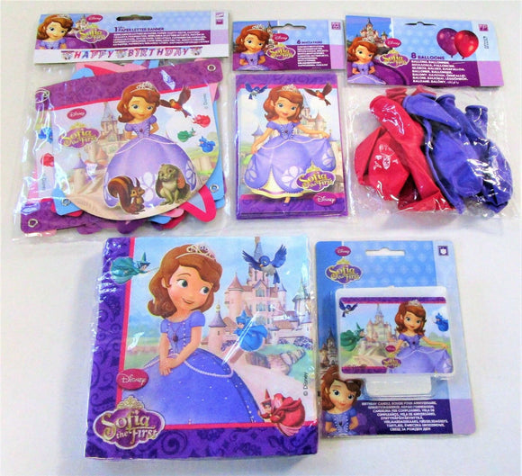 Disney Sofia The First Tableware and Decorations Party Pack