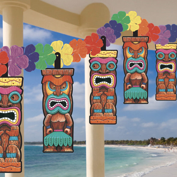 12ft Hawaiian Tiki Flower Garland - Tropical Hanging Party Decorations