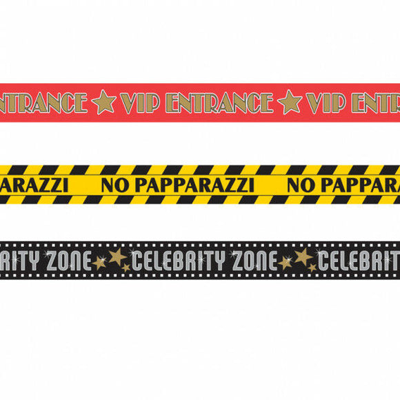 Pack of 3 Assorted Hollywood Party Tape - VIP Celebrity Papparazzi Decorations
