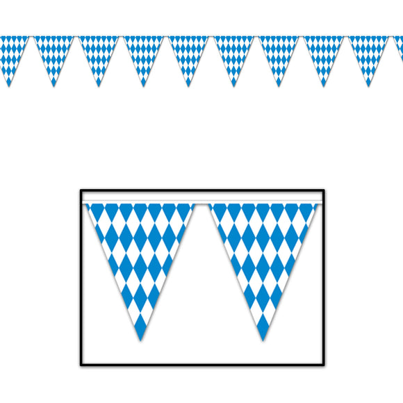 12ft Blue and White Oktoberfest Pennant Banner Plastic Hanging Party Decorations