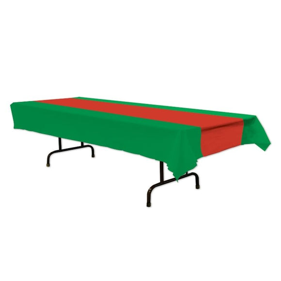 Red & Green Plastic Table cover - 137 x 274 cm - Christmas Party Tableware