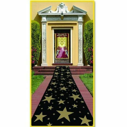 Gold Stars Carpet Runner Decoration - 10ft x 2ft - Hollywood Floor Decorations