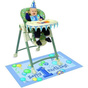 Happy 1st Birthday Highchair Set - Blue - Complete Party Kit with Decorations