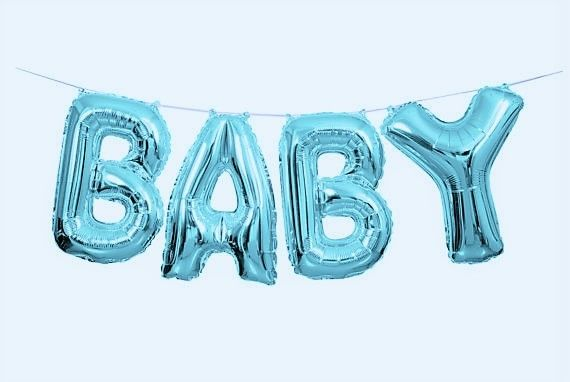 Blue Baby Balloon Banner Kit - Air Fill only - Baby Shower Party Balloons