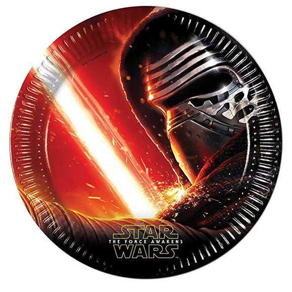 Pack of 8 Star Wars The Force Awakens 23cm Paper Plates - Disney Party Tableware