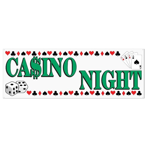 1.5m Casino Night Sign Banner - Card Suit, Dice & Playing Cards Party Decoration