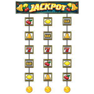 Casino Slot Machine Stringer - 75 cm x 1.2 m - Casino Party Hanging Decoration