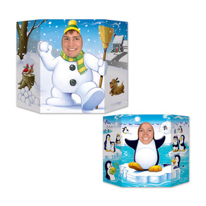 Winter 2-sided photo prop - snowman, penguin - Christmas Party Decorations