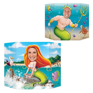 Mermaid and King Neptune Photo Prop - Party Decorations - Cutouts & Standins