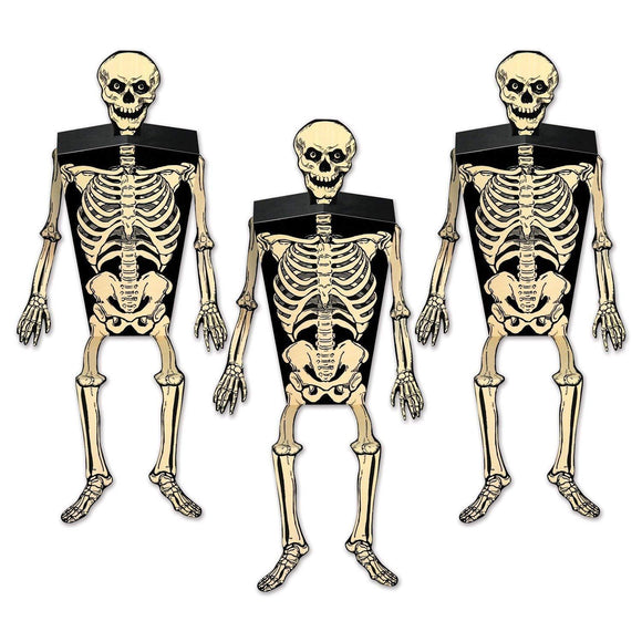Pack of 3 Skeleton Favour Boxes - Halloween Party Decorations