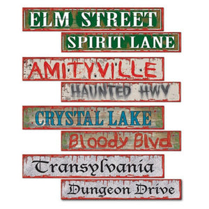 Pack of 4 Double sided Halloween Street signs - 10 x 61 cm - Party decorations