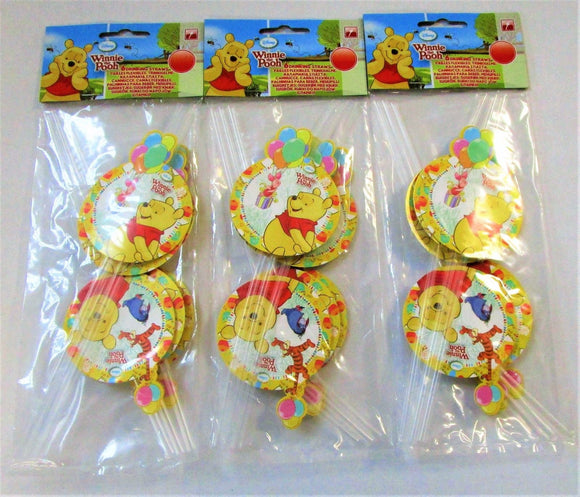 Pack of 18 Winnie The Pooh Drinking Straws - Disney Party Tableware