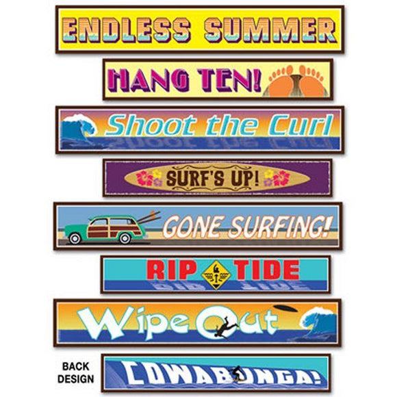 Pack of 4 Double Sided Surfer Street Signs - Tropical Summer Party Decorations