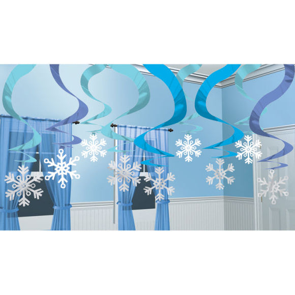 15 Piece Winter Wonderland Snowflake Hanging Swirl - Christmas Party Decorations