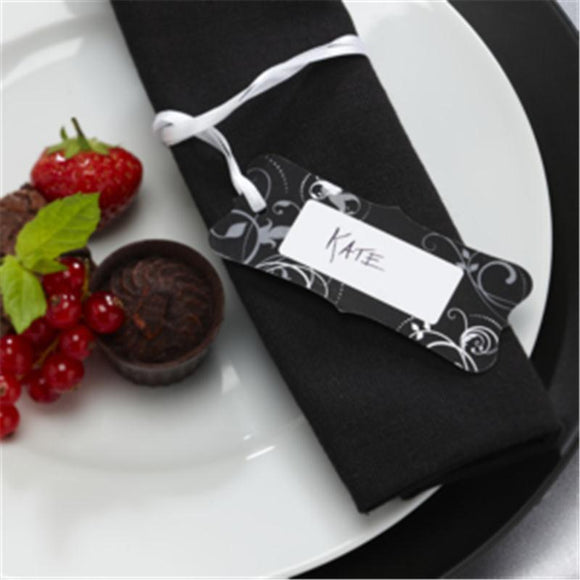 100 Luxury Gift - Christmas - Tags with White Ribbon. Ribbon already attached