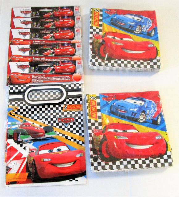 Cars RSN Pack of 30 Party Bags and 40 Napkins - Disney Tableware
