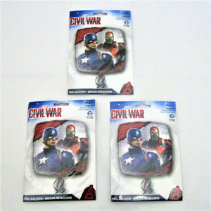 "Pack of 3 Captain America Civil War 17"" Foil Helium Balloons - Marvel party"