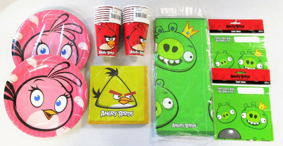 Angry Birds Party Tableware and Decorations Pack for 16 People - Plates Cups etc