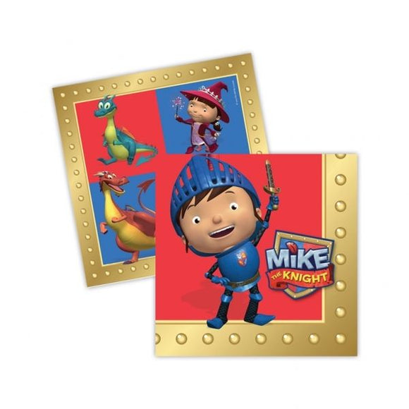 Pack of 16 Mike The Knight Luncheon Napkins - Medieval Theme - Party Tableware