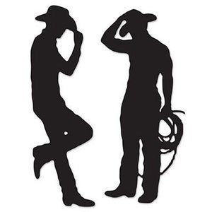 Pack of 2 Cowboy Silhouettes Decorations - 94 cm Tall - Western Party Decoration