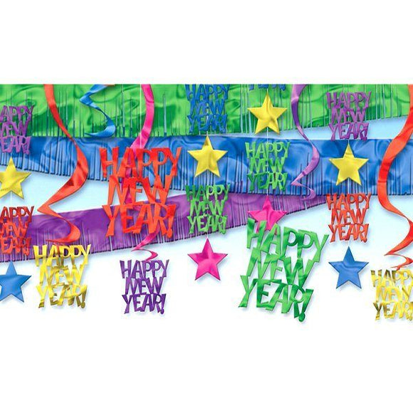 Happy New Year Multi Colour Decorating Kit - 21 Piece NYE Party Decoration Set