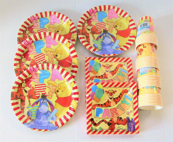 Winnie The Pooh Tableware Party Pack for 32 - 32 Plates 32 Cups 40 Napkins