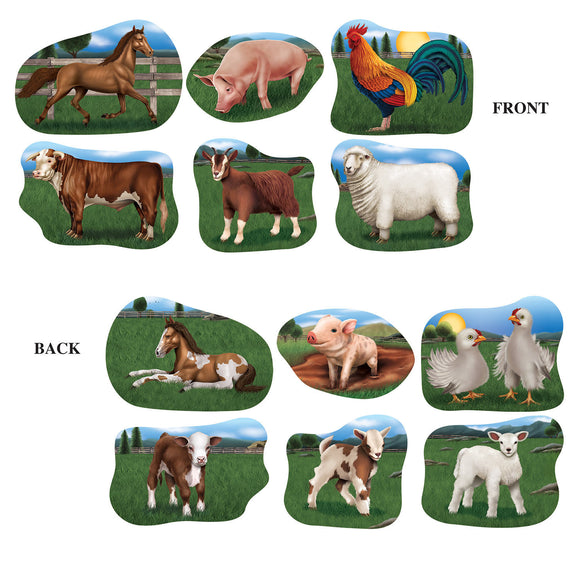 Pack of 6 Farm Animal Cutouts Wall Decoration - Party Decorations