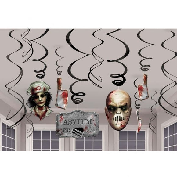12 Piece Sinister Surgery Hanging Swirls - Spooky Halloween Party Decorations