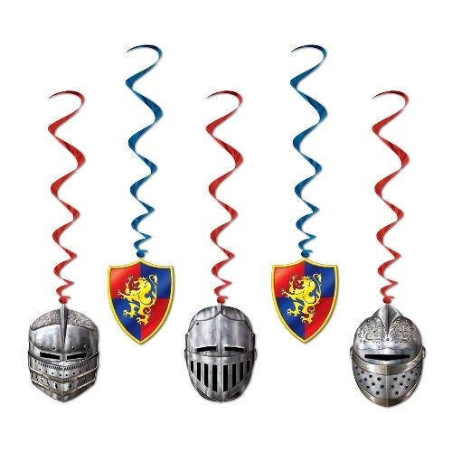 Pack of 5 Medieval Hanging Whirls - Knights / Armour Party Ceiling Decorations