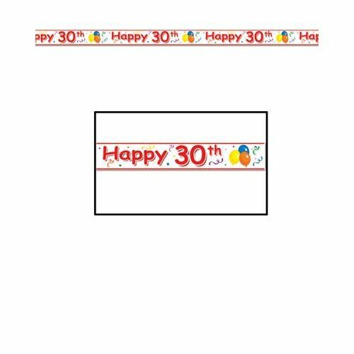 Happy 30th Birthday Party Tape - 6 m - Banner and Bunting Party Decorations
