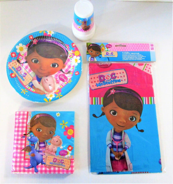 Disney Doc McStuffins Party Pack for 8 People - Plates Cups Napkins Table Cover