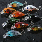 MUQGEW Lot 9Pcs Fishing Lures Kinds of Minnow Fish Bass Tackle Hooks Baits Crankbaits #S0 - Outdoor Panther
