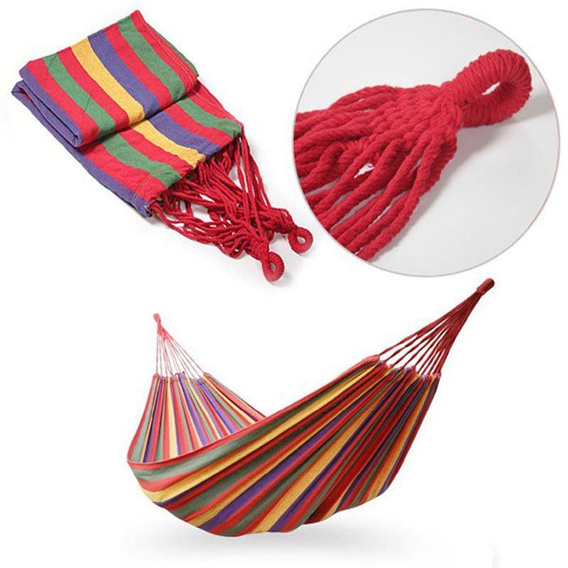 Portable Cotton Rope Outdoor Swing Fabric Camping Hanging Hammock Canvas Bed - Outdoor Panther