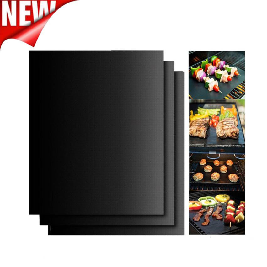 3PCS Non-Stick BBQ Magic Grill Mat Perfect for Baking on Gas Heat Resistant - Outdoor Panther
