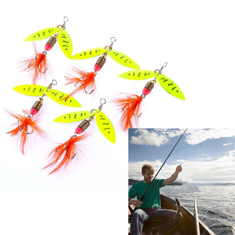 5pc fishing spoons trout spoon wobbler Swimbait fishing lures spinner bait #EW - Outdoor Panther