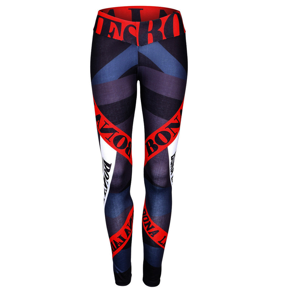 Women Sports Gym Yoga Workout Mid Waist Running Pants Fitness Elastic Leggings - Outdoor Panther