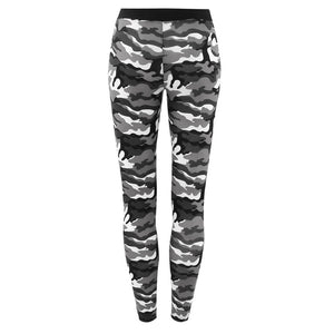 Womens Camouflage  Elastic Waistband Yoga  Gym Leggings Fitness Sports Pants - Outdoor Panther