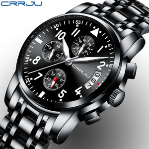 CRRJU Men's Chronograph Wristwatch Army Waterproof Clock Men Full Steel Hour - Outdoor Panther